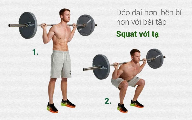 Bài tập chống xuất tinh sớm squat với tạ