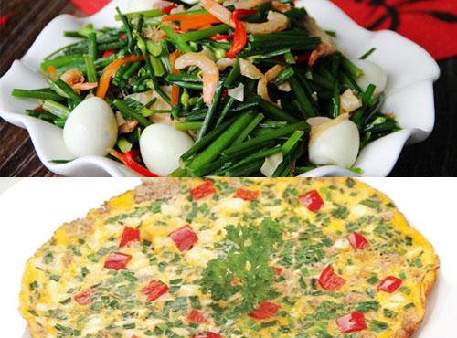 Tôm rang lá hẹ và trứng chiên lá hẹ là 2 món ăn dễ thực hiện ngay tại nhà