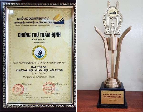 Chứng nhận và cúp giải thưởng Công ty CP Thuốc dân tộc vinh dự nhận giải Top 50 các thương hiệu – nhãn hiệu nổi tiếng năm 2018