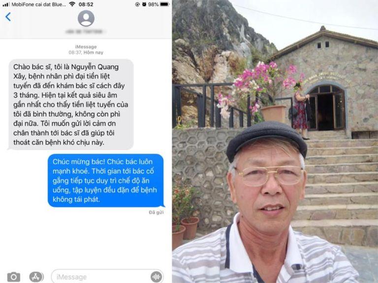 Tin nhắn bệnh nhân Nguyễn Quang Xây gửi bác sĩ Tuấn